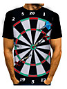 Men\'s T shirt 3D Print Graphic 3D 3D Print Short Sleeve Daily Tops Casual White Black Red