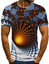 Men\'s T shirt Shirt 3D Print Geometric 3D Print Print Short Sleeve Casual Tops Casual Fashion Round Neck White