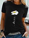 Dámské Jdeme ven Květinový motiv Sedmikráska Tričko Grafika Sedmikráska Tisk Kulatý Základní Topy 100% bavlna Černá