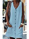 Women\'s Shift Dress Short Mini Dress Yellow Orange White Light Blue Sleeveless Solid Color Summer V Neck Casual 2021 S M L XL XXL 3XL