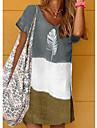 Women\'s Shift Dress Knee Length Dress Blue Gray Khaki Short Sleeve Color Block Print Summer V Neck Casual 2021 S M L XL XXL 3XL