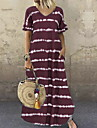 Women\'s Swing Dress Maxi long Dress Wine Navy Black Dark Purple Brown Navy Blue Gray Short Sleeve Striped Print Summer V Neck Casual 2021 S M L XL 2XL 3XL 4XL 5XL