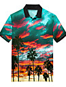 Men\'s Polo 3D Print Scenery Coconut Tree Button-Down Print Short Sleeve Casual Tops Casual Fashion Soft Breathable Rainbow