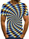 Men\'s T shirt Shirt 3D Print Geometric 3D Print Print Short Sleeve Casual Tops Casual Fashion Round Neck Black / White