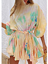 Women\'s Loose Short Mini Dress Blushing Pink Orange Black Long Sleeve Color Block Tie Dye Spring Summer Round Neck Casual Holiday Loose 2021 S M L XL XXL / Cotton / Cotton