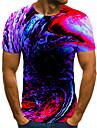 Men\'s T shirt Shirt 3D Print Geometric 3D Print Print Short Sleeve Casual Tops Casual Fashion Round Neck Black / Red