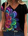 Dámské Květinový motiv Obraz Tričko Květinový Grafika Tisk Do V Základní Topy Černá
