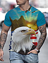 Men\'s T shirt 3D Print Graphic Print Short Sleeve Party Tops Exaggerated Round Neck Red Green