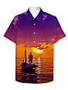 男性用 シャツ 3Dプリント グラフィック 3D ボタンダウン 3Dプリント 半袖 カジュアル トップの カジュアル ハワイアン パープル