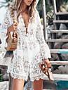 Women\'s Sheath Dress Short Mini Dress White Long Sleeve Solid Color Tassel Fringe Lace Patchwork Spring Summer V Neck Casual Sexy Lantern Sleeve 2021 S M L XL