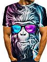 Men\'s Tees T shirt 3D Print Graphic Prints Orangutan Animal Print Short Sleeve Daily Tops Basic Casual Rainbow