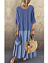 여성용 랩 드레스 맥시 드레스 푸른 블러슁 핑크 클로버 블랙 3/4 길이 소매 도트무늬 한 색상 프린트 봄 여름 라운드 넥 캐쥬얼 루즈핏 3D 프린트 S M L XL XXL