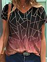 Dámské Abstraktní Geometrický Obraz Tričko Zářící barvy Geometrický Tisk Do V Základní Topy Černá