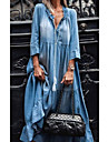 Women\'s Denim Dress Maxi long Dress Black Light Blue 3/4 Length Sleeve Solid Color Pocket Patchwork Spring Summer V Neck Chic & Modern Casual 2021 S M L XL XXL
