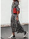Women\'s Shift Dress Maxi long Dress Black Long Sleeve Plaid Check Spring Summer V Neck Chic & Modern Casual 2021 S M L XL XXL