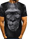 Men\'s Tees T shirt 3D Print Graphic Prints Orangutan Animal Print Short Sleeve Daily Tops Basic Casual Black