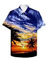 男性用 シャツ 3Dプリント グラフィック 3D 3Dプリント ボタンダウン 半袖 カジュアル トップの カジュアル ハワイアン ブルー / 夏