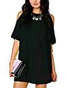 Women\'s Oversized A Line Baggy Off Shoulder Stylish Chiffon Party Midi Dress Black XS