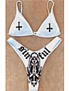 Dámské Bikiny 2 ks Plavky Push Up Otevřít Zpět Üçgen Etno Abstraktní Bílá Plavky S vycpávkou Krátký top Ramínka Plavky nový Na běžné nošení Sexy / Sportovní / Písmeno / Tisk / Podprsenka s vycpávkami