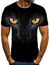 Men\'s T shirt Shirt 3D Print Animal 3D Print Print Short Sleeve Casual Tops Casual Fashion Round Neck Black