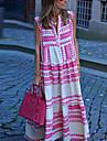 Women\'s Swing Dress Maxi long Dress Blushing Pink Sleeveless Striped Geometric Patchwork Print Spring Summer V Neck Casual Boho 2021 S M L XL XXL 3XL