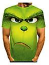 Men\'s Tee T shirt Shirt 3D Print Graphic Prints Animal Short Sleeve Casual Tops Cartoon Big and Tall Round Neck Purple Green Light Green