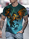 Hombre Tee Camiseta Camisa Impresion 3D Dragon Grafico Anime Tallas Grandes Estampado Manga Corta Diario Tops Chic de Calle Exagerado Dorado Azul Piscina Arco Iris