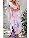Women\'s Kaftan Dress Maxi long Dress Blushing Pink Short Sleeve Tie Dye Print Summer V Neck Casual Loose 3D Print S M L XL