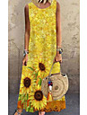 Women\'s A Line Dress Maxi long Dress Yellow Sleeveless Floral Print Spring Summer Round Neck Casual 2021 S M L XL XXL 3XL 4XL 5XL