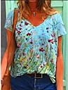 Női Póló Grafika Virágos Nyomtatott V-alakú Felsők Alap Alapvető felső Medence Sárga Lóhere
