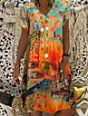 Női A vonalú ruha Térdig érő ruha Medence Narancssárga Rubin Rövid ujjú Nyomtatott Batikolt Nyomtatott Nyár V-alakú Elegáns Alkalmi Bő 2021 S M L XL XXL 3XL
