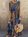 Women\'s Shift Dress Maxi long Dress Blue Sleeveless Print Print Spring Summer Round Neck Casual 2021 S M L XL XXL