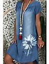 Women\'s Denim Dress Knee Length Dress Blue Short Sleeve Floral Print Summer V Neck Elegant 2021 M L XL XXL 3XL