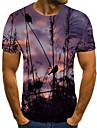 Homens Camiseta Camisa Social Impressao 3D Animal Impressao 3D Estampado Manga Curta Casual Blusas Casual Moda Decote Redondo Roxo