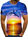 Men\'s T shirt Shirt 3D Print Animal 3D Print Print Short Sleeve Casual Tops Casual Fashion Round Neck Blue