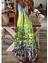 Women\'s Strap Dress Maxi long Dress Blue Yellow Green Sleeveless Floral Print Summer V Neck Sexy 2021 S M L XL XXL XXXL