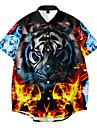 男性用 シャツ 3Dプリント 虎 動物 ボタンダウン 3Dプリント 半袖 日常 トップの カジュアル ファッション ストリートファッション ルビーレッド