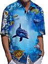 男性用 シャツ 3Dプリント グラフィック 鮫 動物 ボタンダウン プリント 半袖 日常 トップの カジュアル デザイナー 大きくて背が高い ブルー