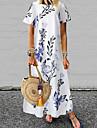 Women\'s A Line Dress Maxi long Dress White Blue Yellow Short Sleeve Floral Tie Dye Print Summer Round Neck Elegant Vintage 2021 S M L XL XXL 3XL 4XL 5XL