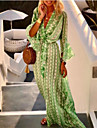 Women\'s Swing Dress Maxi long Dress Blushing Pink Green 3/4 Length Sleeve Geometric Print Spring Summer V Neck Boho Holiday Flare Cuff Sleeve Loose 2021 S M L XL XXL 3XL