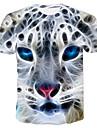 Men\'s T shirt 3D Print Animal 3D Print Print Short Sleeve Casual Tops Casual Fashion White