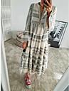 Women\'s Swing Dress Maxi long Dress Blushing Pink Gray 3/4 Length Sleeve Geometric Print Spring Summer V Neck Boho Flare Cuff Sleeve 2021 S M L XL XXL 3XL
