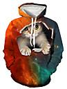男性用 プルオーバーフーディースウェットシャツ 猫 グラフィック 動物 プリント フード付き 週末 3Dプリント カジュアル パーカー トレーナー 長袖 ルビーレッド
