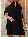 Women\'s Sundress Short Mini Dress Black Blue Red Green Short Sleeve Solid Color Lace Summer Halter Neck Casual 2021 S M L XL XXL