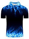 男性用 ゴルフシャツ テニスシャツ グラフィック プラスサイズ 半袖 日常 スリム トップの オリジナル ストリートファッション 3D 誇張された シャツカラー ブルー