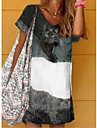 Women\'s Shift Dress Knee Length Dress Gray Black Short Sleeve Print Print Summer V Neck Casual 2021 S M L XL XXL 3XL