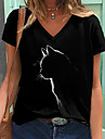 Női 3D Cat Póló Cica Grafika Nyomtatott V-alakú Alap Felsők Fekete