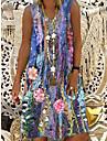Női A vonalú ruha Térdig érő ruha Bíbor Ujjatlan Virágos Nyomtatott Nyomtatott Nyár V-alakú Elegáns 2021 S M L XL XXL