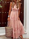 Women\'s Swing Dress Maxi long Dress Blue Yellow Blushing Pink White Beige Sleeveless Solid Color Lace Patchwork Spring Summer V Neck Elegant Sexy Boho Holiday 2021 S M L XL XXL