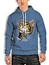 男性用 プルオーバーフーディースウェットシャツ 猫 グラフィック 動物 プリント フード付き 週末 3Dプリント カジュアル パーカー トレーナー 長袖 ブルー